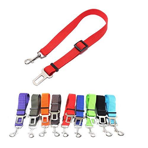 SIERRA Guinzaglio di Sicurezza Auto per Cani di Piccola e Media Taglia, Regolabile in Nylon (Rosso)