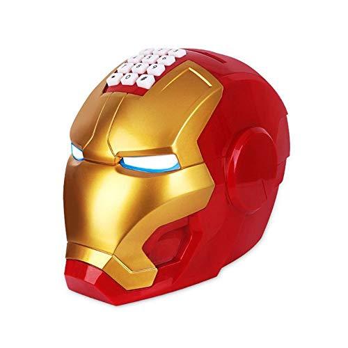 HIL Robot Hucha Electrónica Contraseña De Música Rollo De Dinero Automático Hucha Luz LED Música Iron Man Bloquear Automáticamente Regalos Novedosos para Niños Regalo De Cumpleaños