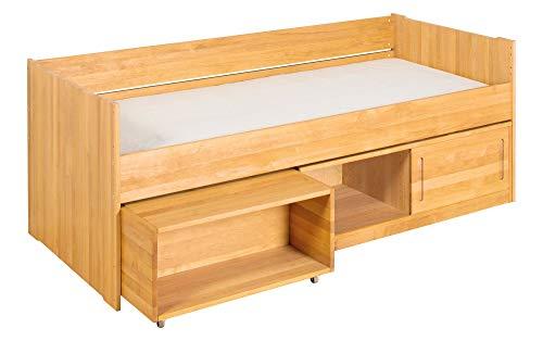 BioKinder complete set Lina-slaapbank functioneel bed Stapelbed met geheim vakje en schuifdeur van massief hout elzenhout 90 x 200 cm