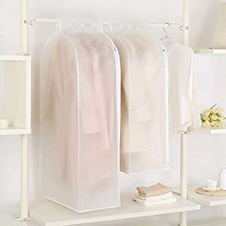 Wuyue Hua 2 Pack Waterproof See-Through Garment Bag Clothes Cover Bag Duster Frosted Dress Top Organizer Zip Up Frameless Suit Protector with Magic Tap