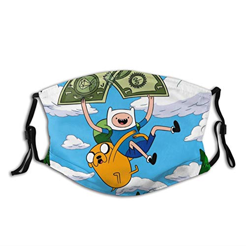 Adventure Time Unisex Adjustable Bandana,Outdoor Dust,Reusable Balaclava Mouth Cover with Filters