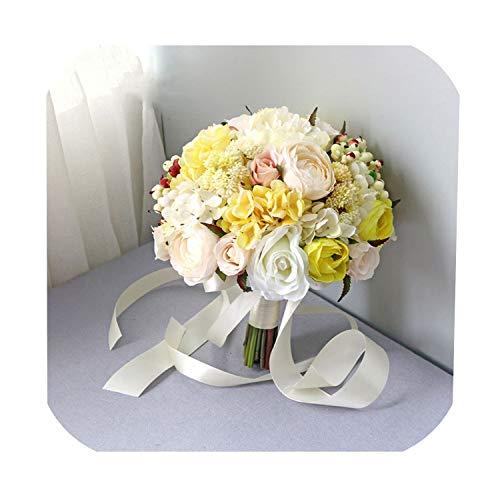 N/A Mie Yang Hochzeitsstrauß Wasserfall Hochzeit Blumen Brautstrauß Halter Rose Pfingstrose Weiß Künstliche Blumen Brautsträuße, gelb, Einheitsgröße