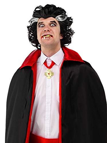 Folat 26747 Perücke Dracula Vampir, Schwarz, One Size