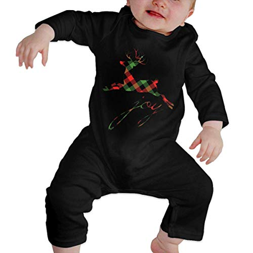 GLGFashion Unisex Plaid Reindeer Joy Newborn Baby 6-24 Months Baby Climbing Clothing Baby Long Sleeve Garment Black Combinaisons Body bébé Barboteuse