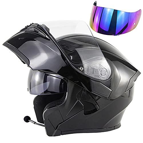 Casco De Moto Modular Bluetooth Integrado Auriculares Hombre Y Mujer Casco Anticolisión Certificación ECE con Doble Visera Antivaho, Cómodo Y Transpirable