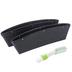 SENHAI 2 x Universal-Auto-Organizer-Tasche, PU-Leder, Füllen Sie die Lücke an der Sitzseite, Konsolen-Zubehör, Aufbewahrung für Handyschlüssel, Karten, Münzen, Geldscheine mit 1 Mini-Staubwedel