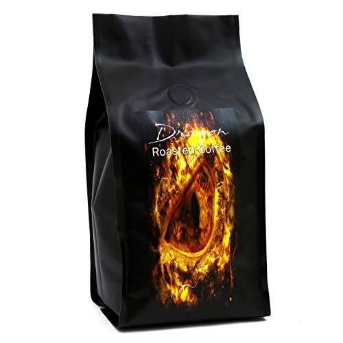 DRAGON ROASTED COFFEE - Extra Stark, Extra Lecker | Röstkaffee | Kräftiges Aroma | Macht Müde Menschen Munter | 500 g Ganze Kaffee-Bohnen mit rauchigem Rebholz Aroma, in Whiskyfässern gelagert