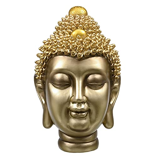 TERESA'S COLLECTIONS Estatua de Buda Cabeza de Buda Religiosa En Resina Estatua de Buda Pequeña Estatuilla de Buda Dorada Decorativa para Interior 20c