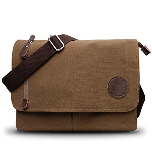CHEREEKI Messenger Bag, Men's Canvas Shoulder Bag Satchel Bag with Multiple Pockets for Work, School, Traveling and Daily Use(Fits 13.3 inch Laptop) (Brown)