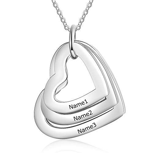 KAULULU Custom Jewellery Love Heart Silver Necklace for Women- Pendant for Mum Grandma BFF Name Necklace Chain - Customised Engraved 1-4 Family Names Necklaces