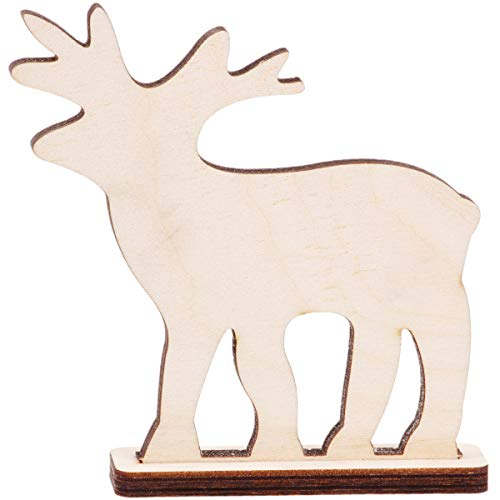 Renne avec pied en bois 10,5 x 10,5 cm Ren bois décoration Decoupage Décoration de Noël