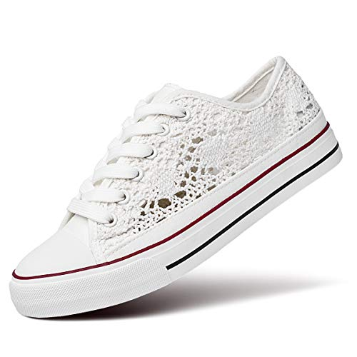 ZGR Women's Fashion Canvas Sneakers Mesh Knitted Upper Low Cut Casual Shoes (White,US7) 7