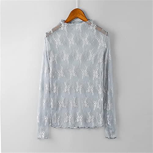 Mujeres de verano encaje bordado floral blousas camisas tops sexy malla blusas transparente elegante transparente (Color : Gray, Size : One Size)