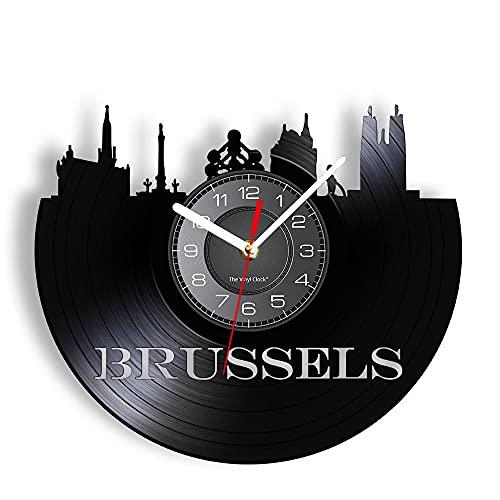 BBZZL Reloj de Pared del Paisaje Urbano de Bruselas Que Decora el Reloj de Pared del Horizonte de la Capital Belga con Grabado de Obras de Arte de época Sin LED