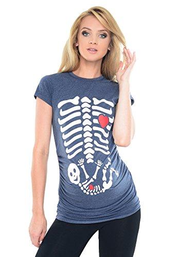 Purpless Geschenk für Schwangere Damen Umstands-Oberteil Lustige Umstandsmode Baumwolle Frauen Top Mütter T-Shirt mit Skeleton Baby Skelett Druck B2016 (44, Indigo Jeans Melange)