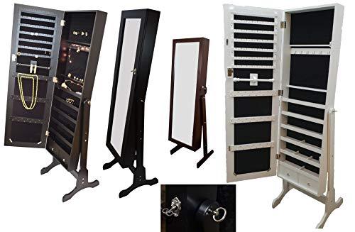 Schmuckschrank Standspiegel Schmuckkasten Spiegelschrank LED (Kirschbaum)