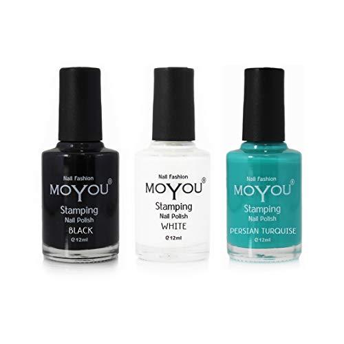 MoYou Nails 3er-Bündel Nagellack: Schwarz, Türkis und Weiß für schöne Nageldesigns