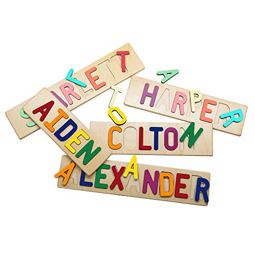 South Bend Woodworks Kids Personalized Wooden Name Puzzle - Up to 9 Characters (Including Spaces)