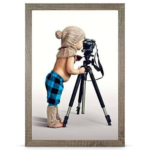 Stallmann Design Bilderrahmen 33x95 cm wildeiche Rahmen Fuer Dina 4 und 60 andere Formate Fotorahmen Bilderrahmen zum hängen aus Holz MDF mehrere Farben wählbar Frame für Foto oder Bilder