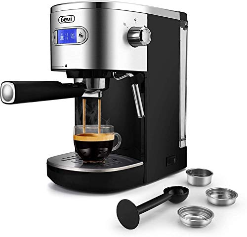 Gevi Espresso Machines 20 Bar Fast Heating Automatic Cappuccino Coffee Maker with Foaming Milk Frother Wand for Espresso, 1.2L Removable Water Tank, Double Temperature Control System 1350W