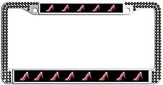 High Heel Shoe License Plate Frame,Black Rhinestones Car Tag Holder