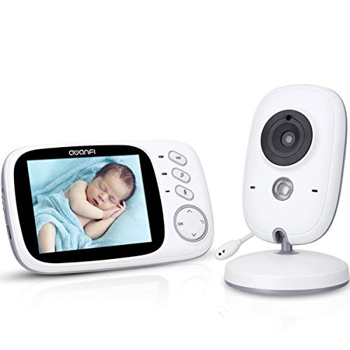 Babyphone Caméra Vidéo sans Fil 3,2 Pouces, AWANFI Moniteur Bébé 2,4 GHz Caméra Surveillance Bébé avec Ecran Couleur LCD Talkie Walkie Vision Nocturne Berceuses Intégrées et Thermomètre