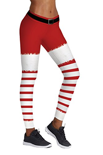 COCOLEGGINGS Ladys Red and White Stripes Print Cute Christmas Pants (L/XL)