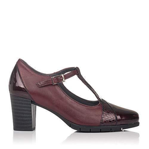 PITILLOS 5764 Zapato Vestir Tacon Alto Piel Mujer Burdeos 37