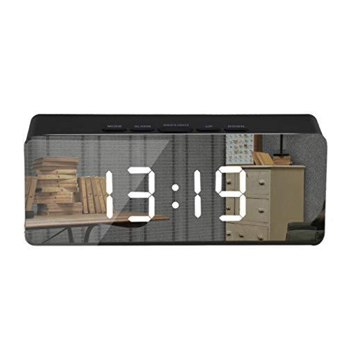 Zaru-Mode Zarupeng Multifunctionele spiegel digitale klok LED Digitale wekker nachtlicht thermometer display spiegelklok make-up spiegel wekker elektronische klok
