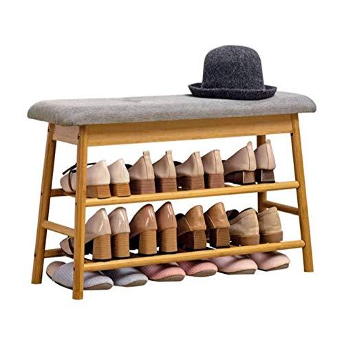 LMCLJJ Taburete de almacenamiento de zapatos para el hogar, zapato de zapato simple Banco de zapatos Rack Sólido Madera de madera Prueba de zapatos Cabineta Moderno Zapatos Modernos Taburete de almace