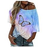 MRULIC Damen T-Shirt Kurzarm Rundhals Tie Dye Schmetterling Drucken Farbverlauf Oberteile Sommer Pullover Lose LäSsige Tops(Blau,L)