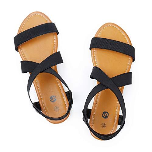 Rekayla Elastic Ankle Wrap Flat Sandals for Women New Black 07