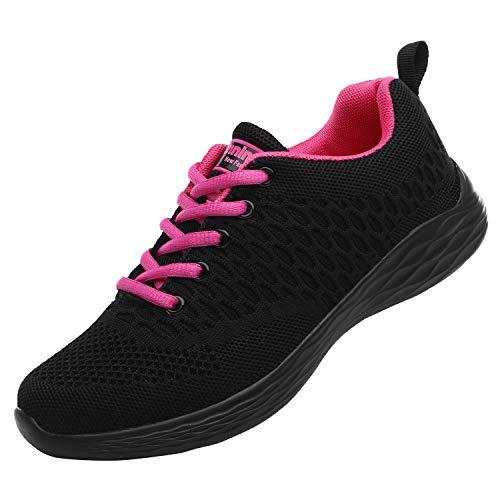 ALI&BOY Mujer Gimnasia Ligero Sneakers Zapatillas de Deportivos de Running para(36 EU, Negro/Rojo)
