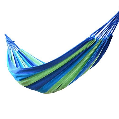YunNasi Hängematte 185 x 80 cm für 1 Person Tragkraft bis 150 kg mit Tragetasche 75% Baumwolle Schaukelbett für Outdoor Camping Terrasse Hof und Garten,Blau