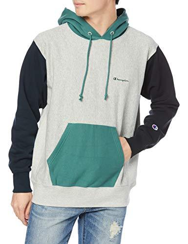 [チャンピオン] パーカー トレーナー 裏毛 長袖 綿100% 10oz カラーブロック スクリプトロゴ刺繍リバースウィーブ フーデッドスウェットシャツ C3-T109 メンズ オックスフォードグレー XL