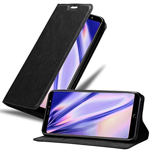 Cadorabo Hülle für BQ Aquaris X2 in Nacht SCHWARZ - Handyhülle mit Magnetverschluss, Standfunktion & Kartenfach - Hülle Cover Schutzhülle Etui Tasche Book Klapp Style