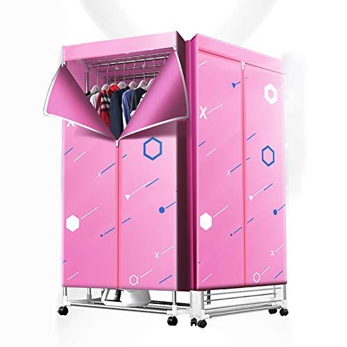 Secadora De Ropa Eléctrica 1300W Gran Capacidad 15Kg Doble Capa De Aleación De Aluminio Control Remoto Armario De Secado De Aire Caliente Para Interiores De Bajo Consumo,Pink