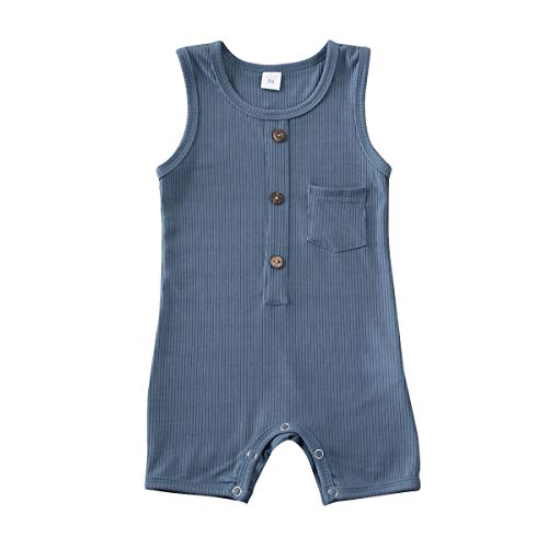Baby Girl Boy Romper Bodysuit Solid Plain One Piece Jumpsuits Pajamas Sleeveless One Piece Baby Clothes Outfits Summer (Blue, 18-24 Months)