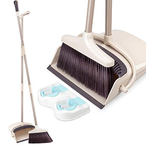Broom and Dustpan Set with Long Extendable Handle Upright Dust Pan and Broom Set for Home Kitchen Room Lobby Office Floor Clean