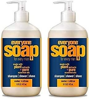 EveryOne Cedar and Citrus 3-in-1 Soap (Shampoo, Body Wash, Bubble Bath) (Pack of 2) With Organic Aloe Vera, Matricaria Flower Extract, Calendula, and Organic Camellia, 16 fl. oz.