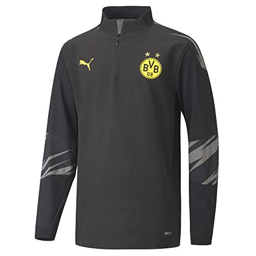 PUMA BVB Stadium 1/4 Zip Top Jr T-Shirt, Black-Asphalt-Home, 116