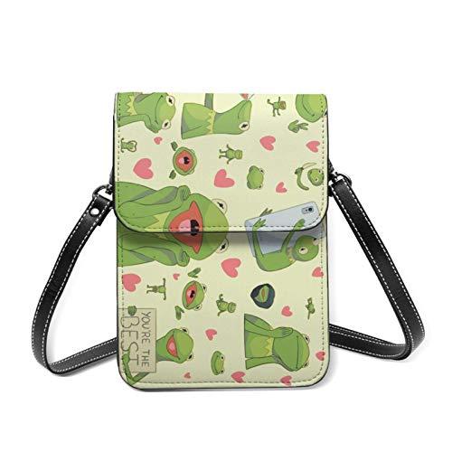 XCNGG bolso del teléfono Kermit The Frog Face Lightweight Leather Mobile Wallet, Small Messenger Bag, Mini Mobile Phone Bag, Shoulder Bag, Detachable Shoulder Strap, Suitable For Women