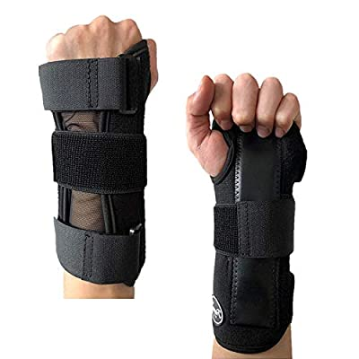 Wrist Brace Support Hand Left Right Upgrade Carpal Tunnel Men Women Night Sleep Pack, Adjustable Strap for Arthritis Athletic Sprain, Elastic Exercise Bowling Drawing Mouse Keyboard Gym (Worn on Left Hand)