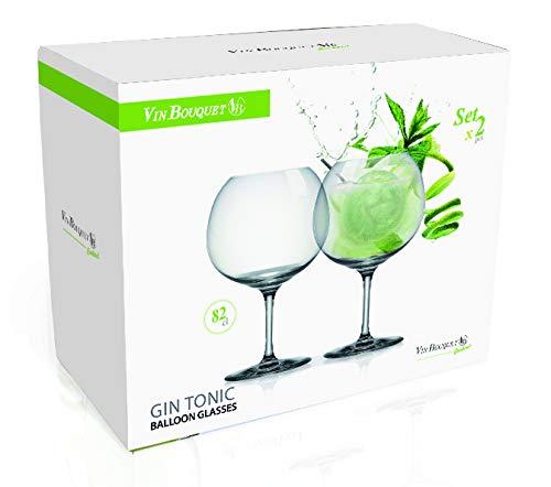 vin bouquet Calici per Gin e Tonic in Cristallo di Boemia Trasparente, Set da 2-82cl