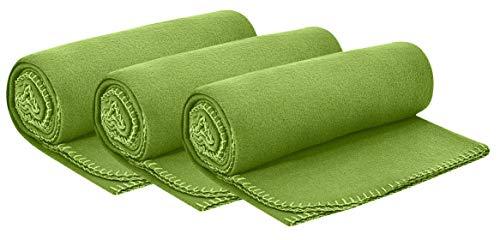 wometo 3er Set Polar- Fleecedecke 130x160 cm ca. 400g wertiges Gewicht mit Anti-Pilling Kettelrand Farbe grün grasgrün