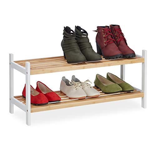 Relaxdays Zapatero con 2 Niveles, hasta 6 Pares de Zapatos, bambú y Madera de Abedul, 33 x 70 x 26 cm, Natural/Blanco