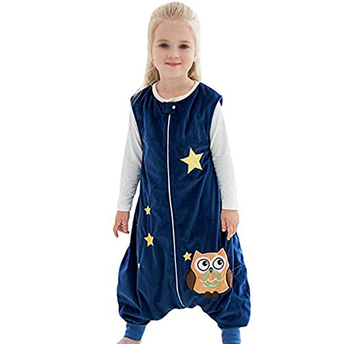 NXYJD 1-6 Years Old Children Boys and Girls Clothes Spring and Autumn Long-sleeved Cartoon Jumpsuit Polar Fleece Can Wear Blanket Sleeping Bag (Color : A, Size : Medium)