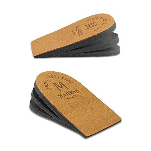 Premium Adjustable Orthopedic Heel Lift for Heel Pain and Leg Length Discrepancies,Heel Pain, Sports Injuries, and Achilles tendonitis (Brown, Medium-1)