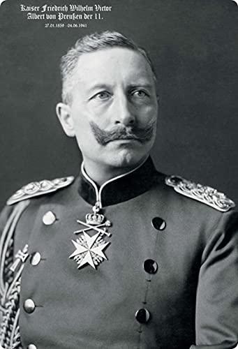 Blechschild 20x30cm gewölbt Kaiser Friedr. Wilhelm der II. von Preussen Deko Geschenk Schild