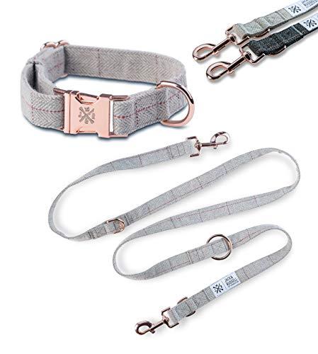 Jack & Russell Tweed Set Hundeleine 2,0m + Halsband mit roségoldenen Karabiner - Hundeleine elegant mehrfach verstellbar (S/M, Grau-Meliert)